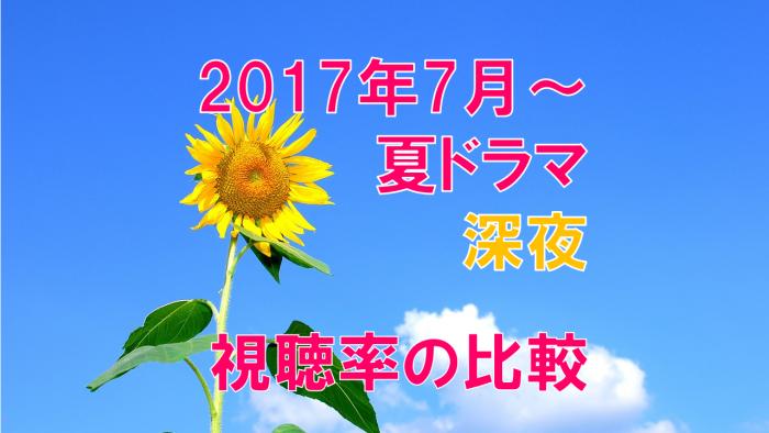 2017年夏ドラマ(深夜) 視聴率の比較