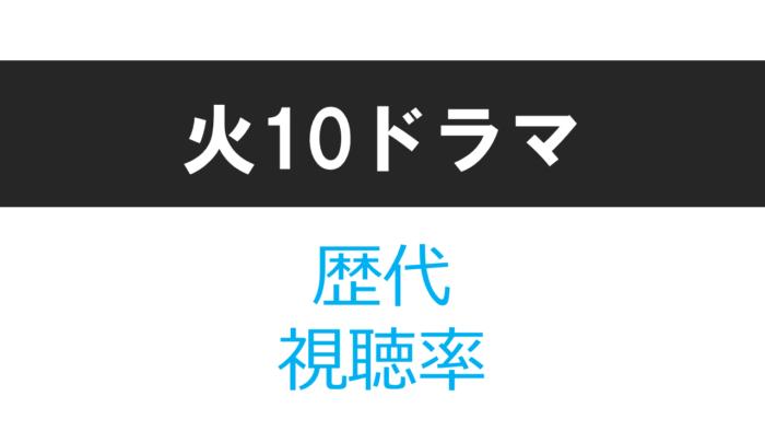 火10ドラマ 歴代視聴率
